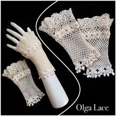 "55 Likes, 3 Comments - Olga Lace (@olgalace_fashiondesigner) on Instagram: ""Fashion Designer Olga Lace Кружевные перчатки без пальцев. Митенки.  #crochet #olgalace #designer…"""