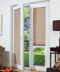 French Doors White Framed Pleated Perfect Fit Blinds