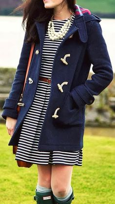 Lovely stripes mini dress, cozy coat, belt, and stunning necklace. Love, but I would lengthen the dress