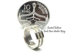 Irish coin ring, deer antler ring. A Unique limited edition Irish silver coin wedding ring.
