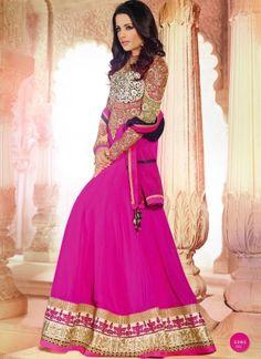 Celina Jaitley In Magenta Wedding Long Anarkali Salwar Suit http://www.angelnx.com/Salwar-Kameez/Bollywood-Salwar
