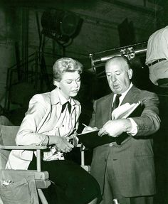 """Doris Day & Alfred Hitchcock on the set of """"The Man Who Knew Too Much"""""""