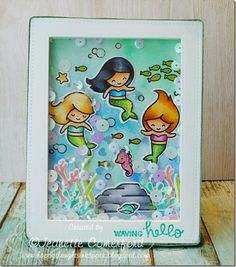 Lawn Fawn Mermaid for each other; Mermaid for you; gorgeous colors; DIB; hello; trio; ocean scene; shaker; waving hello