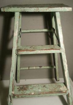Vintage Old Wood Step Ladder  distressed with by AngryAntelope, $34.00