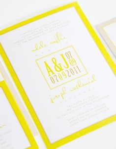 Bright yellow wedding invitations.  Fun!