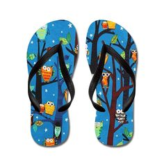 Nyou Owls at Night Lightweight Unisex Flip Flops Flat Sandals Available in Various Colors and Sizes >>> You can find out more details at the link of the image.