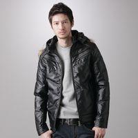 【2200元優惠↘】EDWIN 多剪接皮羽絨外套-男款 黑色
