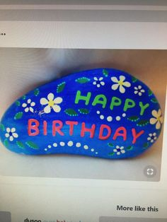 Stone Painting, Painting Art, Turtle Rock, Birthday Painting, Simple Canvas Paintings, Happy Birthday, Rock Painting Ideas Easy, Baby Turtles, Daughter Birthday