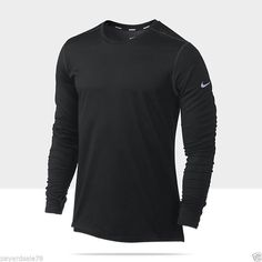 MEN'S MEDIUM BLACK NIKE RUNNING SHIRT DRI-FIT WOOL $80 LONG SLEEVE 502900 #Nike #LONGSleeveShirt