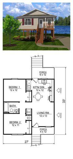 Coastal House Plan 96701   Total Living Area: 736 sq. ft., (81.78m2) 2 bedrooms & 1 bathroom. #houseplans #coastalplan #smallhouseplans