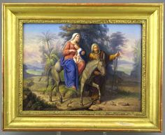 """An exceptional Berlin (KPM) Porcelain plaque ~ Hand painted ~ The quality and fineness of this painting is  remarkable ~ A Biblical subject ~ """"The Flight into Egypt"""" The plaque is in the original antique frame ~ Circa 1854"""