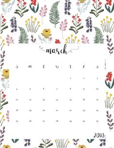 Cute March 2018 Template Floral Design