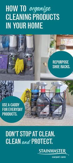 Looking for some house ideas to declutter your cleaning products? Here are some helpful tips for organizing, so when it's time to clean, you know where to look. Fill your new rack and caddy with STAINMASTER® carpet cleaning products—they remove stains and protect against resoiling by repelling dirt.