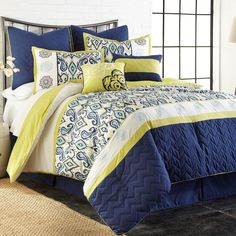 8 Piece KING Yellow Blue Comforter Set Embroidered Bridal Gift Idea Free Shippin #ComforterSets