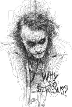 Artist Vince Low has turned once-aimless doodling into Scribble Art, which is an advanced art form of penmanship. Described as Scribbles with life, Vince Low's works are invariably in portrait form. Art Du Joker, Le Joker Batman, Harley Quinn Et Le Joker, Der Joker, Superman, Gotham Batman, Jocker Batman, Batman Robin, Heath Joker