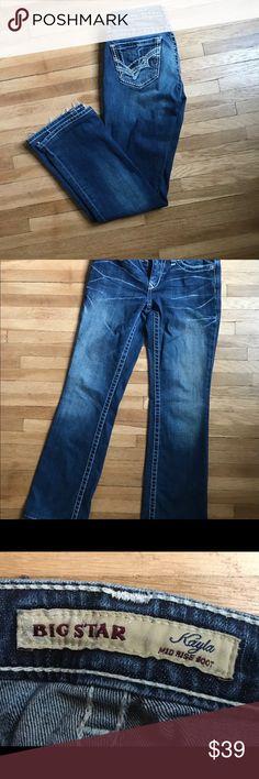 Big Star Kayla Mid Rise Boot Cut Jeans Size 26L Big Star Kayla Mid Rise Boot Cut Distressed Jeans Size 26L Big Star Jeans Boot Cut
