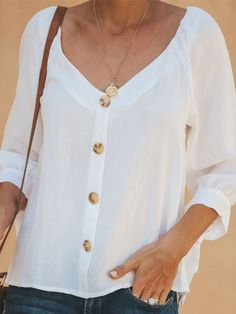 Casual Half Bat Sleeve V Neck Lapel Shirt look not only special, but also they always show ladies' glamour perfectly and bring surprise. Half Sleeve Shirts, Shirt Sleeves, Cheap Blouses, Blouses For Women, Cotton Blouses, Women's Blouses, Linen Blouse, Online Shopping For Women, Blouse Online