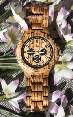 UD Personalized Multi-Function Chronograph Zebra Round Wooden Watch, gifts for men