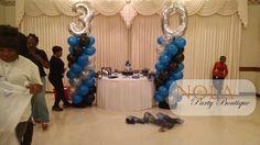 30th Birthday Balloon Columns Blue, Black, and Silver www.nolapartyboutique.com