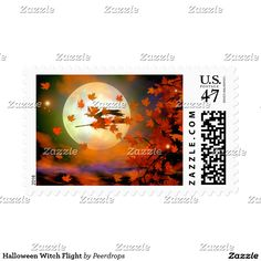 Magical Halloween night postage stamps pictures a witch flying by a big full moon. She stirs up the orange and red autumn leaves as she whisks by on her broomstick. #holiday #fall #office