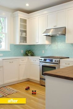 Kitchen Before & After: A Kitchen Gets a Jaw Dropping Overhaul Reader Kitc. Kitchen Before & After: A Kitchen Gets a Jaw Dropping Overhaul Reader Kitchen Remodel Kitchen Redo, New Kitchen, Kitchen Dining, Kitchen Cabinets, Kitchen Ideas, Kitchen White, Blue Cabinets, Aqua Kitchen, White Cupboards