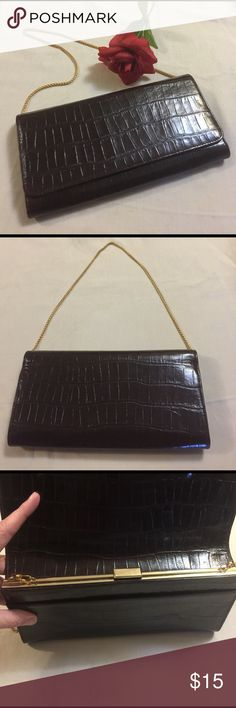 """NWOT Brown Snakeskin Clutch w/ Removable Chain NWOT Brown Snakeskin Clutch w/ Removable Gold Chain. Never used. Measures approximately 10""""x5.25"""". Field Manor Bags Clutches & Wristlets"""