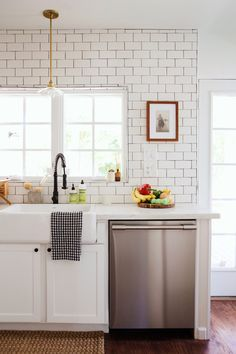 New Darlings - Before and After Tudor Kitchen Remodel - Minimal Modern Far. New Darlings - Before and After Tudor Kitchen Remodel - Minimal Modern Farmhouse Tudor Kitchen, Farmhouse Kitchen Cabinets, Modern Farmhouse Kitchens, New Kitchen, Cool Kitchens, Kitchen Decor, Kitchen Ideas, Minimal Kitchen, Long Kitchen