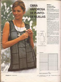 Patrón #546: Camiseta negra con punto de rejilla a Crochet | CTejidas [Crochet y Dos Agujas]