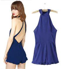 Stylish Sexy Backless Lace Jumpsuit Women's Fashion Romper [5013305924]