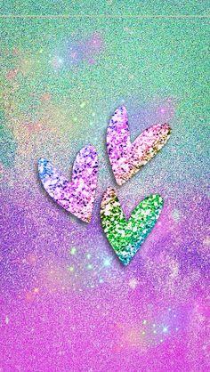 Colorful sparkle hearts. #Wallpaper