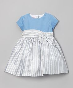 Betti Terrell White & Gray Stripe Bow Silk Dress - Infant, Toddler & Girls by Betti Terrell Toddler Dress, Baby Dress, Infant Toddler, Toddler Girls, Frocks For Girls, Little Girl Dresses, Girls Dresses, Cool Kids Clothes, Cute Outfits For Kids