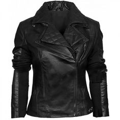 Black Asymmetric Women Biker Style Leather Jacket
