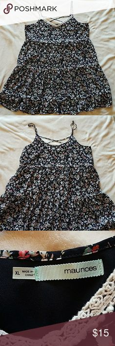 Baby doll dress Layered, strappy back, floral print Maurices Dresses Mini