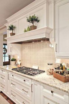 Decorative shelf above the cooktop