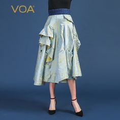 d3fa12b7a Voa 100% Silk Pleated Skirts Women Large Size A Line Midi Sk