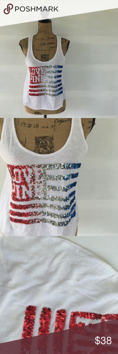 •4th of July• Vs pink sequin America flag tank Super cute tank. XS/S will fit both sizes. Only have 1 tank Small stain pic 3 •no trades•  pink American flag sequin tank. PINK Victoria's Secret Tops Tank Tops