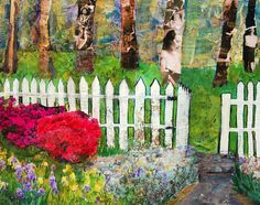 This abstract landscape art pictures a white picket fence with an open garden gate. Beyond the gate are contemporary collage trees created with sepia brown vintage photos. The tree art appears ghostly and spiritual. In the friendly garden, bright pink azaleas bloom with irises and the golden green grass adds more modern color. This tree wall art has been painted black on the sides and is ready to hang without a frame.original art for sale online by Miriam Schulman