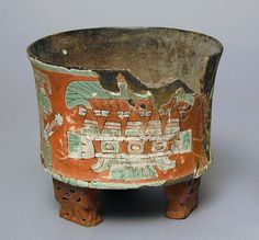 Tripod Vessel Depicting a Temple Atop a Shield and Crossed Darts. Mexico, Teotihuacan, 400-650