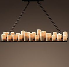 Pillar Candle Rectangular Chandelier Large from Restoration Hardware. Shop more products from Restoration Hardware on Wanelo. Hanging Candle Chandelier, Outdoor Chandelier, Kitchen Chandelier, Rustic Chandelier, Contemporary Chandelier, Candle Lighting, Lighting Ideas, Dining Lighting, House Lighting