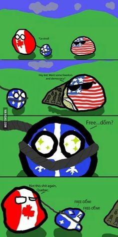Country Balls polandball Canadians will understand. Funny Cute, The Funny, Hilarious, Hetalia, Canadian Memes, Quebec, Canada Funny, History Memes, Country Art