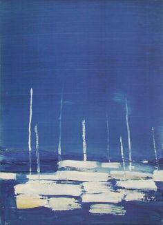 Blue - painting - Nicolas de Staël Sailboats at Antibes, 1954 Deborah Lawrenson: The artist at Le Castellet Abstract Landscape Painting, Blue Painting, Landscape Paintings, Abstract Art, Art Paintings, Antibes, Art Bleu, Blue Art, Impressionism