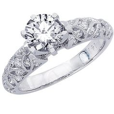 Amazon.com: 0.98 Carat 14K White Gold Vintage Style Channel Set Filigree Diamond Engagement Ring ( J Color , SI2 Clarity ): Jewelry