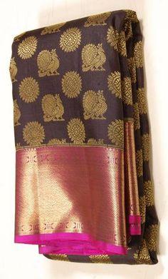 Golden annapakshi Handloom Traditional Kanjeevaram Silk Saree
