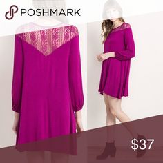 FUCHSIA LACE TRIMMED  DRESS Soft and comfy. Stretchy. Jersey-type material. 3/4 sleeves. True to size. Made in the 🇺🇸. Dresses Mini