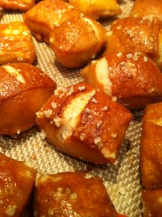 Perfectly soft and chewy pretzel bites using the recipe from @sallybakeblog . Only thing I did differently is instead of using regular baking soda to boil the dough bits, I baked my baking soda in a 300 degree oven for 1 hour to replicate the look and taste that comes when using traditional food grade lye. This recipe is a keeper and very simple to make!