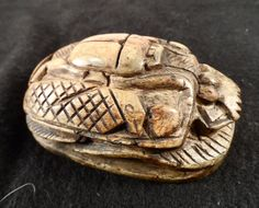 Egyptian scarab beetle-Stone amulet figurine with Hieroglyphics, Sacrab, Mummy, Vases-Hand Craved Stone Paperweight by BCScollectibles on Etsy