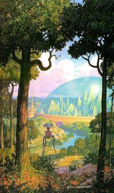 Tim Hildebrandt - Cover art for an edition of The City of Gold and Lead: The Tripods Trilogy by John Christopher, 1988 Fantasy Landscape, Landscape Art, Arte Sci Fi, 70s Sci Fi Art, Alien Worlds, Retro Futuristic, Futuristic Architecture, Environment Concept Art, Science Fiction Art
