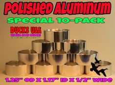 Brass Bands Premium Solid Polished Brass Duck Call Bands Special 10-PACK