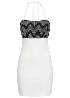 453d7d0b52 Styleboom Fashion Damen Mini Neckholder Kleid Brustpads Zipper Glitter  Optik weiss
