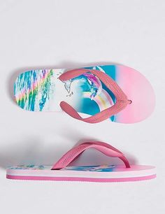340302017eb56 Marks and Spencer Kidsâ Printed Flip-flops (13 Small - 6 Large) Golfinhos